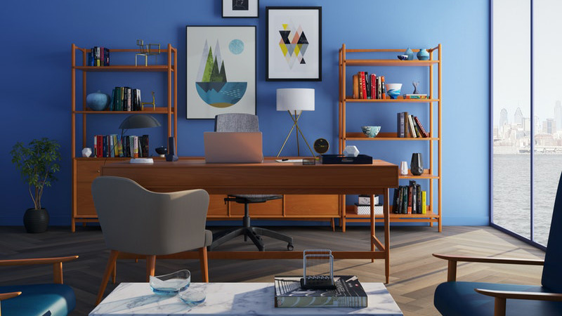 brown-wooden-desk-with-rolling-chair-and-shelves-near-window